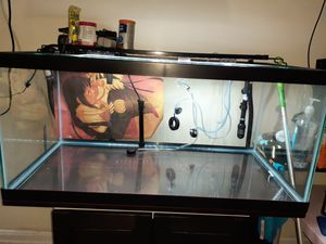 Fish tank heater filter air pump gravel and decorations for Sale in Queens, NY