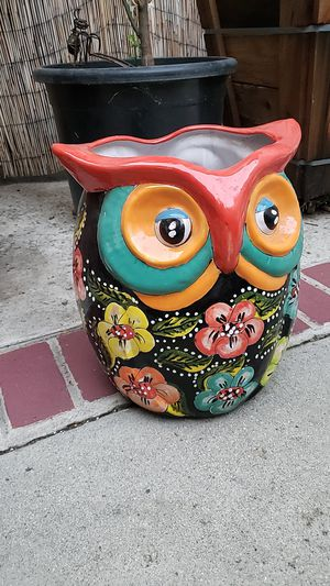 """14"""" inch height ceramic double owls plant pot new for Sale in City of Industry, CA"""