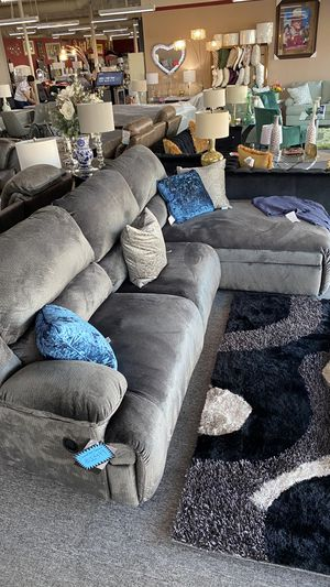Over Sized L Shaped Sectional Charcoal color Velvet Material LSDV for Sale in Grapevine, TX