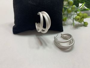 Open Circle C Shaped Geometric Triple Hoop Earring, Silver Color for Sale in Tustin, CA