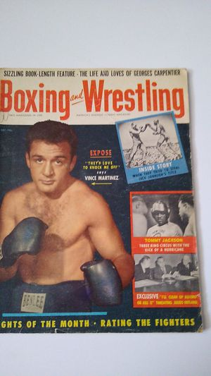 BOXING AND WRESTLING MAGAZINE VINCE MARTINEZ COVER DECEMBER 1955 for Sale in Wallkill, NY