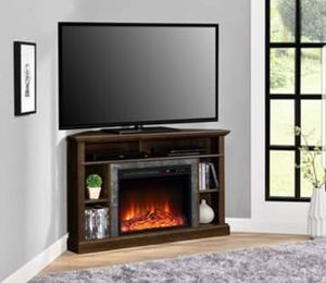 "Electric Corner Fireplace TV Stand Holds up to 50"" With Storage Shelves Wooden Living Room Decor for Sale in Kingston, PA"