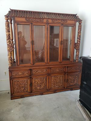 Antique Teak wood china cabinet for Sale in West Bloomfield Township, MI
