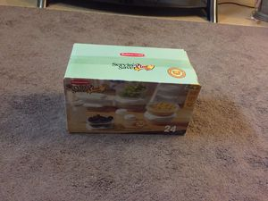 Brand new Rubbermaid 24 piece plastic storage containers and lids. Never used. Asking $3 for Sale in Columbus, OH