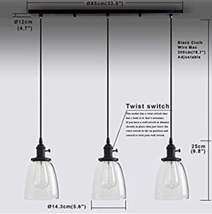 Permo Vintage Rustic Industrial 3-Lights Kitchen Island Chandelier Triple 3 Heads Pendant Hanging Ceiling Lighting Fixture with Oval Cone Clear Glass for Sale in Rancho Cucamonga, CA