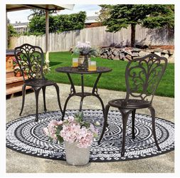 3-Piece Cast Aluminum Patio Bistro Sets Antique Copper Finish Outdoor Furniture with Rust-Resistant Small Round Table and 2 Chairs for Porch, Lawn, Ga for Sale in City of Industry,  CA