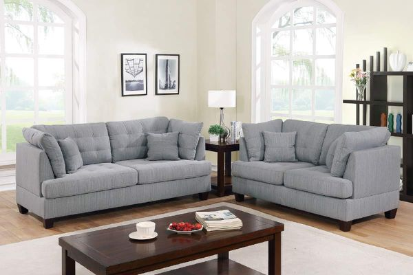 2 piece SOFA LOVESEAT LIVING ROOM COUCH GRAY POLYFIBER LINEN LIKE FABRIC COUCH GREY - SILLONES