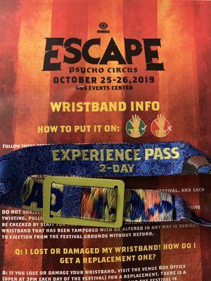ESCAPE FESTIVAL OCT 25-26 2019 for Sale in Spring Valley, CA