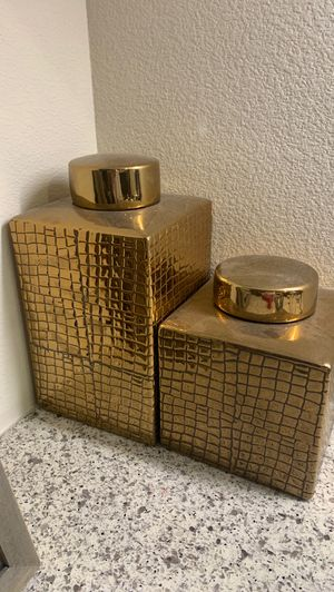 Cb2 bronze jars canisters for home decor for Sale in Irvine, CA
