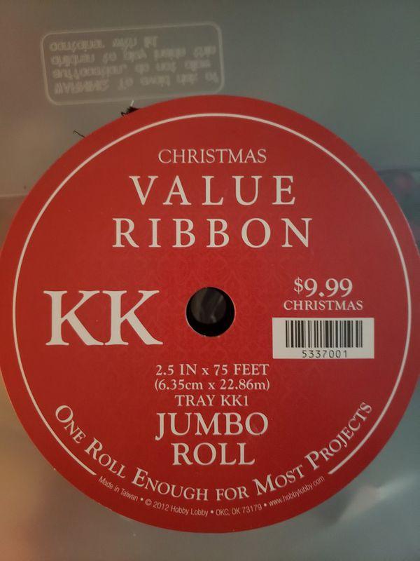 Christmas ornaments and ribbon