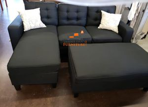 Brand new black linen sectional sofa couch with ottoman for Sale in Silver Spring, MD