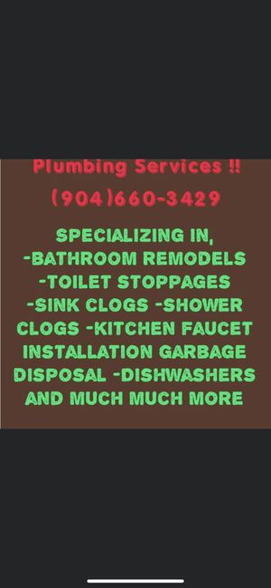 Bathroom remodels, kitchen faucet, garbage disposals, dishwashers etc for Sale in Jacksonville, FL