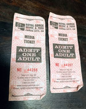 2 Adult Admission Ticket to Royal Gorge Bridge & Park Canon City, Colorado for Sale in Cañon City, CO