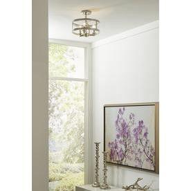 Kichler Angelica 13-in W Polished Nickel Clear Glass Semi-Flush Mount Light