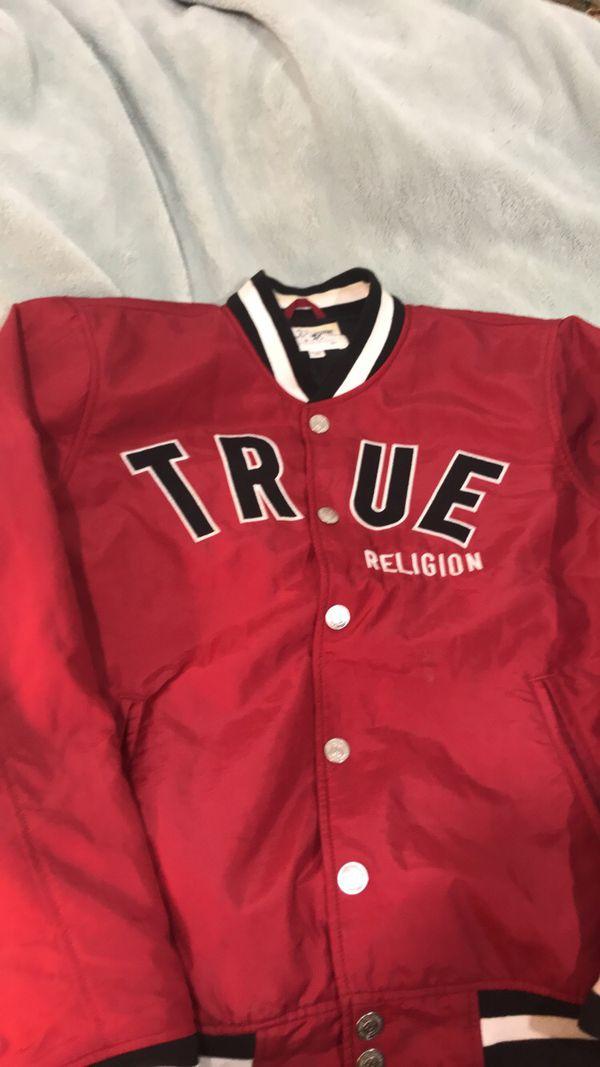 True religion hoodie size medium new. Red true religion 2xl collegiate jacket