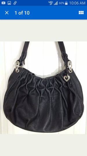 Brighton Handbag Shoulder Bag Black Soft Rucrhed Leather for Sale in Huntington Beach, CA