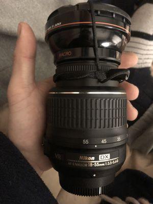 Nikon camera lens w/ macro lens attachment for Sale in McLean, VA