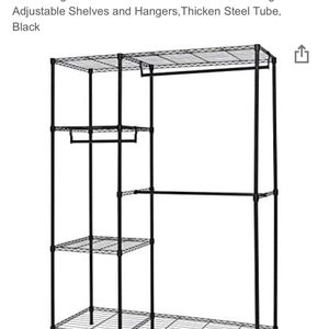 Finnhomy Heavy Duty Wire Shelving Garment Rack for Closet Organizer Portable Clothes Wardrobe Storage with Adjustable Shelves and Hangers,Thicken Stee for Sale in Queens, NY