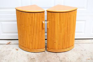 Pair Vintage Bamboo Rattan Semicircle Corner Shelves for Sale in Raleigh, NC