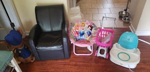 Kids chairs and portable high chair , shopping cart pack n play net for Sale in Moyock, NC