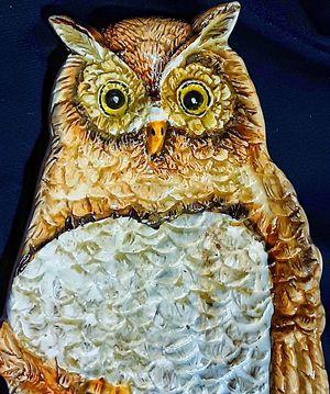 Mid century modern italian art pottery ceramic owl figurine dish or plate for Sale in Saginaw, MI