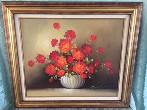 Bright Beautiful Orange Oil Painting Of Flowers In Vase for Sale in Bauxite, AR