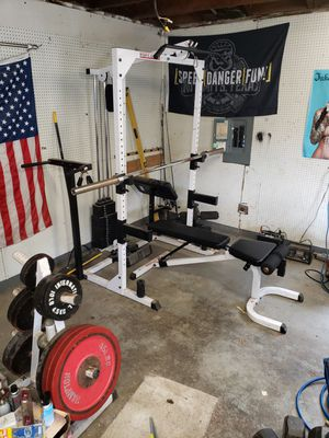 Squat rack, bench, weights and accessories for Sale in Maple Valley, WA