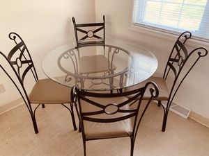 Glass top table matching with 4 chairs for Sale in North Olmsted, OH