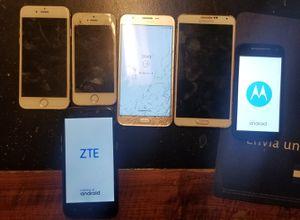 6 BROKEN PHONES - Note 3, ZTE, Moto E, Samsung J7, iPhone 5S & 6s, Galaxy S5 for Sale in Alexandria, VA