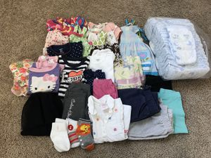 18 months baby girl clothes and size 4 overnight diapers (28) and swim diapers for Sale in San Diego, CA