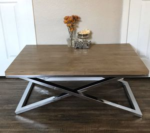 World Market Wood Stainless Steel Coffee Table for Sale in Modesto, CA