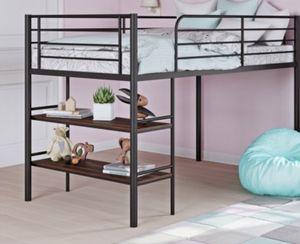 New!! Bed, twin bed, loft twin bed, metal kids loft bed, kids loft bed w open storage shelves , storage kids metal loft bed, bedroom furniture , bla for Sale in Phoenix, AZ