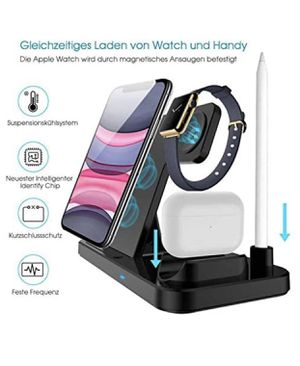 Wireless Charger, QI-EU 4 in 1 Qi-Certified Fast Charging Station Compatible Apple Watch Airpods Pro iPhone for Sale in Vancouver, WA