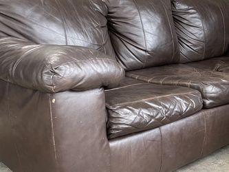 Brown Leather Couch with Pull Out Bed for Sale in Atlanta, GA