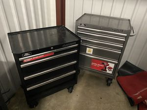 3 black and 1 gray tool boxes for Sale in Baton Rouge, LA
