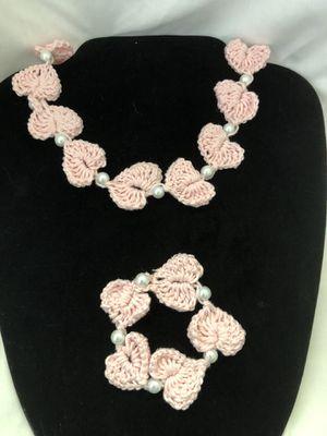 Hand Crochet Heart Necklace & Bracelet set for Sale in Staunton, VA