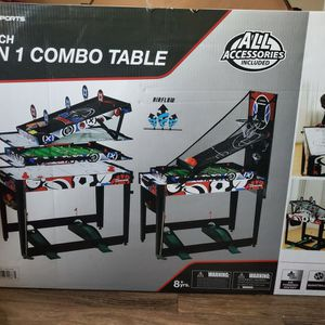 7 in 1 Combo Table: Air Hockey, Basketball, Bag Toss, Darts, Pinball Soccer, Target Shooting, Mini Golf, Quick & Easy Transform for Sale in Corona, CA