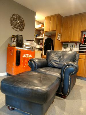 Leather Nail Head Chair and Ottoman for Sale in Redmond, OR