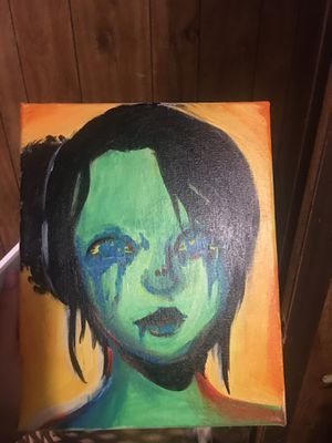 Colorful abstract acrylic painting of a woman for Sale in Summersville, WV