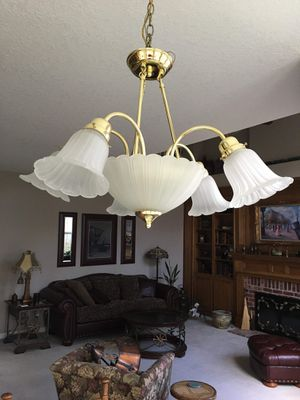 Brass Hanging Light Fixture with Frosted Glass lamps. Chandelier Pick up in Bethany area near Beaverton for Sale in Portland, OR