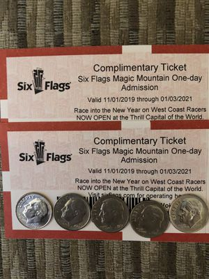 🎢🍿🥤🍦SIX FLAGS MAGIC MOUNTAIN ⛰ (2) TICKETS 🎟🎟 $50 EACH FIRM THERE $92.99 AT THE GATE AND EXPIRE 01/03/2021 🎢🍿🥤🍦 for Sale in Lynwood, CA