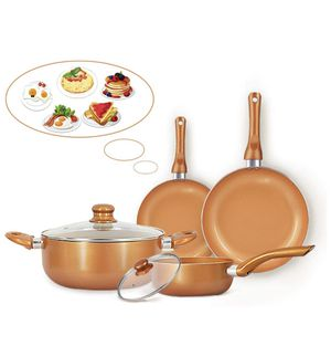 6-piece Nonstick Kitchen Cookware Set, Ceramic Coating Cooking Pot and Pans Set, Stock Pot/Milk Pot/Frying Pans Set, Copper Aluminum Pan with Lid, In for Sale in Edison, NJ