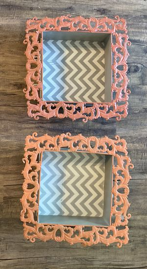 Hobby Lobby Shabby Chic Coral Grey Chevron Wall Shelves for Sale in Chandler, AZ