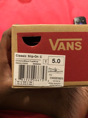 Checker board vans , hardly worn size 5c for Sale in Raleigh, NC