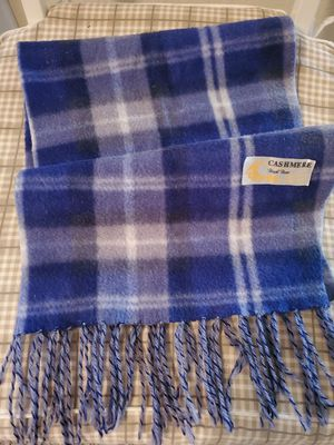 "Royal Rossi Scarf 44""x10"" 100% Cashmere Blue Plaid Windowpane Fringe for Sale in Orlando, FL"