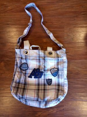 Aeropostale white and blue plaid print crossbody bag/tote bag for Sale in Madison Heights, VA