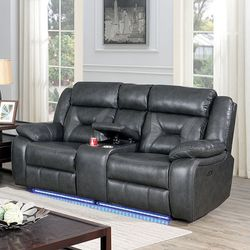 GRAY BREATHABLE LEATHERETTE GREY POWER LOVESEAT RECLINER SOTRAGE CONSOLE CUPHOLDERS LED LIGHT - SILLON RECLINABLE GRIS for Sale in Downey,  CA