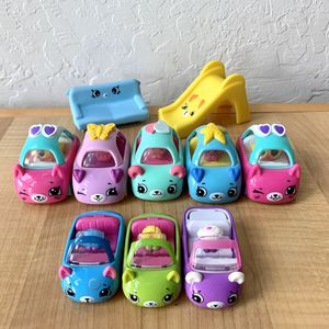 Shopkins Cutie Cars Toy Lot, Including 5 Plastic McDonalds Cars, 3 Metal Cars & Sliding Board And Sofa for Sale in Elizabethtown, PA