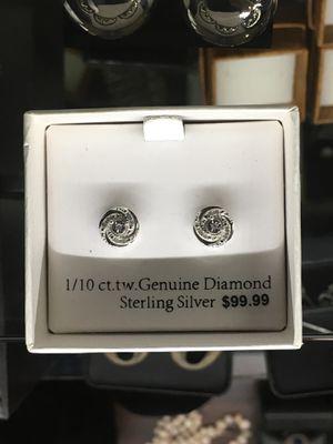 1/10 ct diamond silver earrings for Sale in Bakersfield, CA