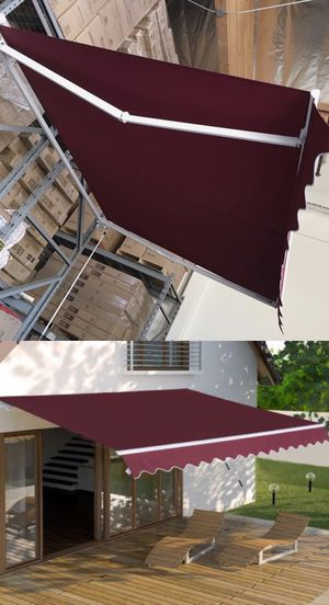 New in box Manual Patio 10 feet wide × 8' Retractable Sunshade Awning deck cover sun block canopy shade burgundy red toldo for Sale in Los Angeles, CA